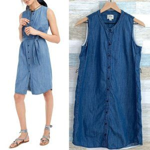 J Crew Chambray Shirtdress Blue Sleeveless